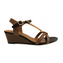černo hnědé sandálky na klínku