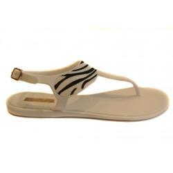 bílé silikonové sandálky s motivem zebry