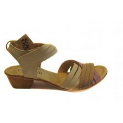 kožené kombinované sandály na podpatku