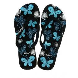 černo  modré žabky s motivem motýlů