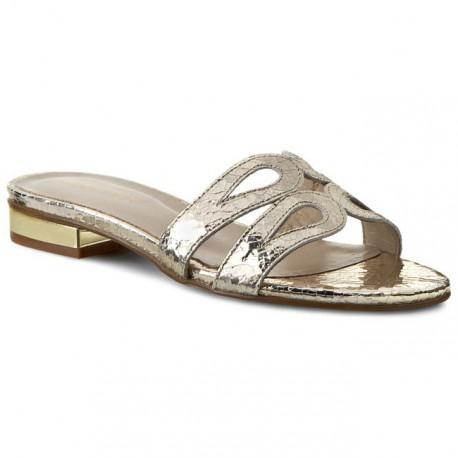 zlaté kožené pantofle na nízkém podpatku SAGAN