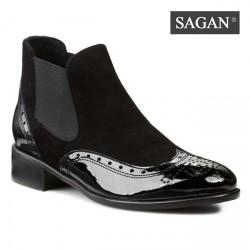 černá kombinovaná kotníková kožená obuv SAGAN