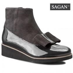 šedé kožené kotníkové polokozačky SAGAN