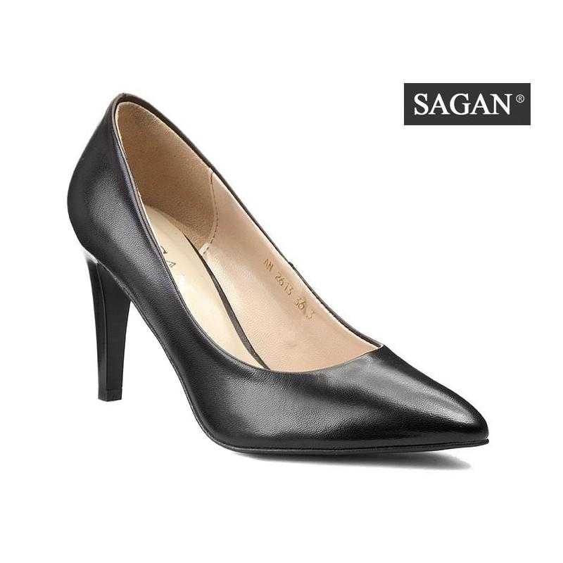 černé kožené lodičky SAGAN - Danea-Shoes 94b1d34202