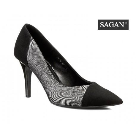 černo stříbrné kožené lodičky SAGAN