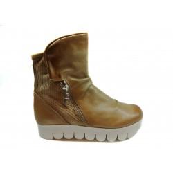 camel kožená kotníková obuv na platformě INDIGO Shoes