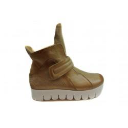 béžové kotníkové kožené tenisky na platformě INDIGO Shoes