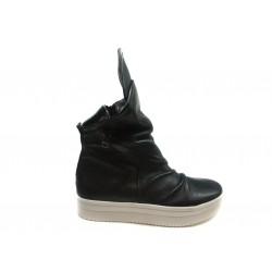 černé kotníkové kožené tenisky na platformě INDIGO Shoes