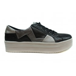 černo šedé  kožené tenisky na platformě INDIGO Shoes