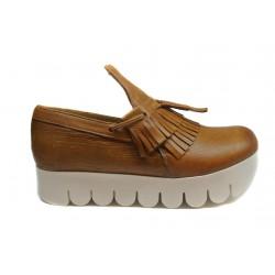 béžové kožené mokasíny na platformě INDIGO Shoes