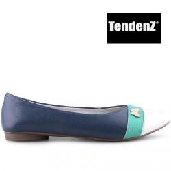 modro bílo zelené kožené baleríny TENDENZ