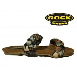 letní pantofle s hnědými pletenými pásky Rock Spring