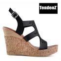černé sandály na vysokém klínku TENDENZ