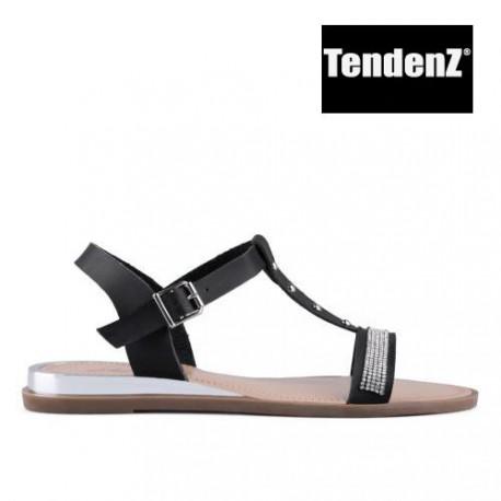 černé sandálky zdobené kamínky TENDENZ