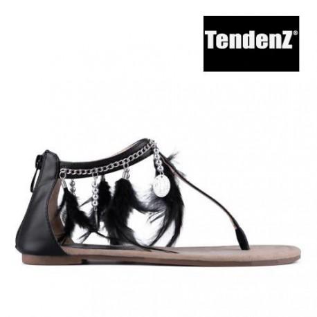 černé sandálky zdobené peříčky TENDENZ