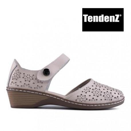béžové kožené dírkované zdobené sandály TENDENZ