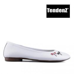 bílé kožené baleríny s ozdobou TENDENZ