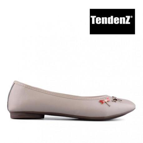 béžové kožené balerínky s ozdobou TENDENZ