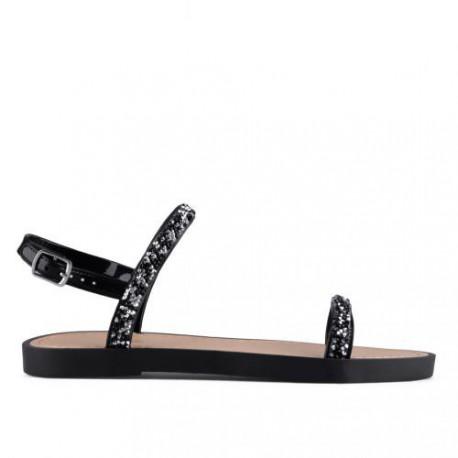 černé sandálky s třpytivými kamínky TENDENZ