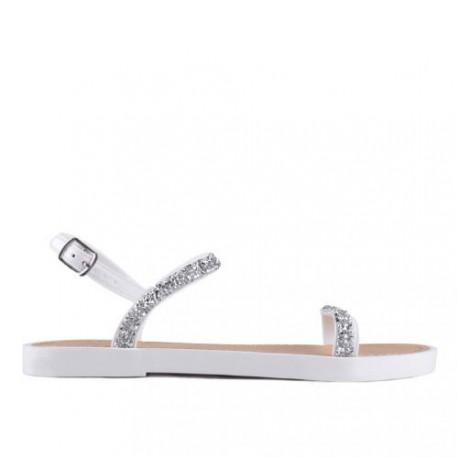 bílé sandálky s třpytivými kamínky TENDENZ