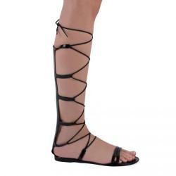 černé sandálky s vysokým šněrováním TENDENZ