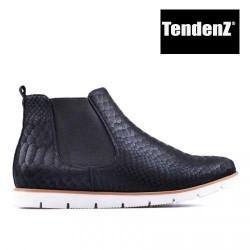 černá kotníková obuv s hadím vzorem TENDENZ