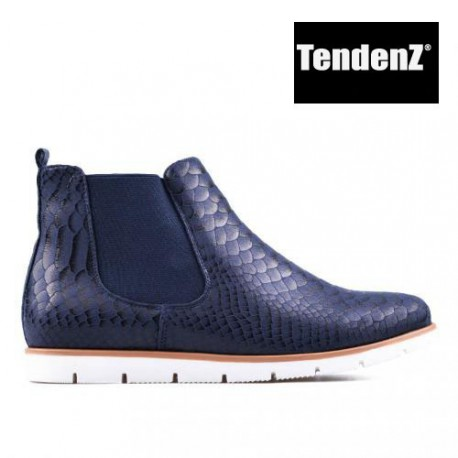 modrá kotníková obuv s hadím vzorem TENDENZ
