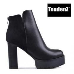 černá kotníčková obuv na vysokém podpatku TENDENZ