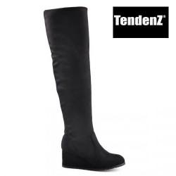 černé elastické kozačky nad kolena na klínu TENDENZ