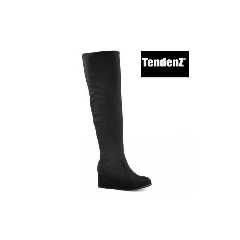 černé elastické kozačky nad kolena na klínu TENDENZ - Danea-Shoes 3a384d9c90
