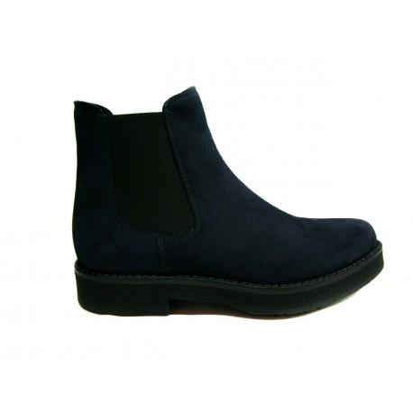 modrá kožená kotníková obuv tzv. perka