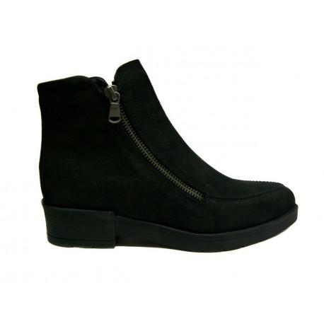 černá kožená kotníková obuv se zipem