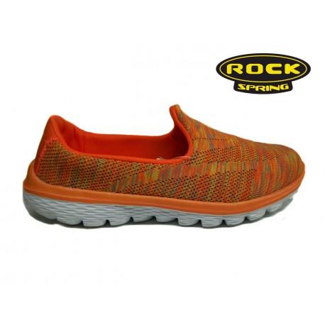oranžové žíhané textilní sportovní mokasíny Rock spring