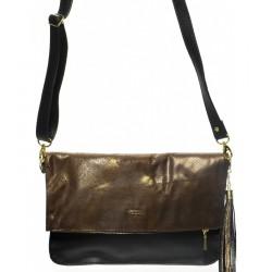 černo bronzová crossbody kabelka - psaníčko
