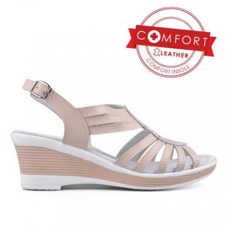 béžové kožené sandály na klínu TENDENZ SSS17-001
