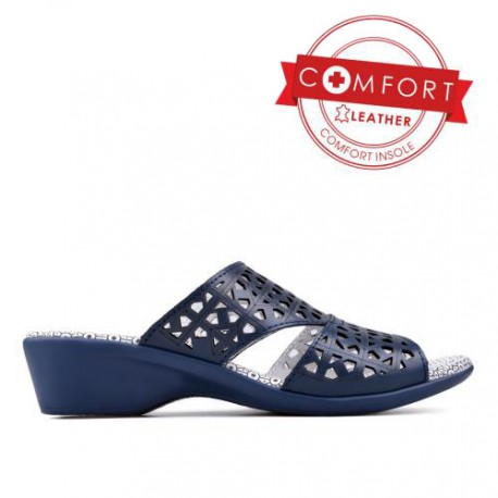 modré kožené dírkované pantofle TENDENZ SSS17-002