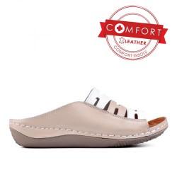 béžové kožené pohodlné pantofle TENDENZ SSS17-027