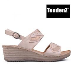 béžovo zlaté sandály na klínu TENDENZ TAS17-033