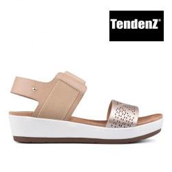 béžovo zlaté páskové sandály na platformě TENDENZ TAS17-017