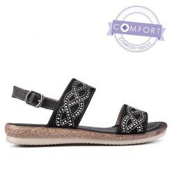 černé zdobené sandály TENDENZ TAS17-025