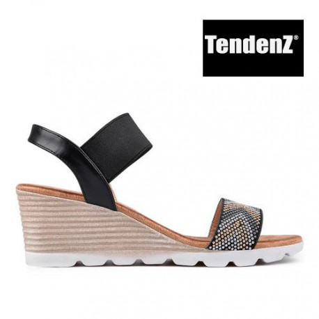 černé zdobené sandály na klínu TENDENZ TAS17-015
