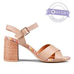 béžové elegantní sandály na podpatku TENDENZ TAS17-021
