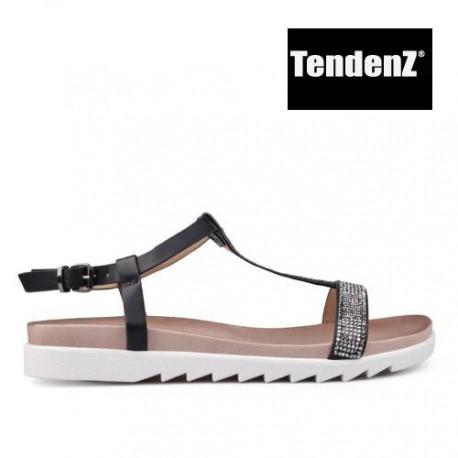 černé páskové sandálky se štrasovým zdobením TENDENZ CRS17-022