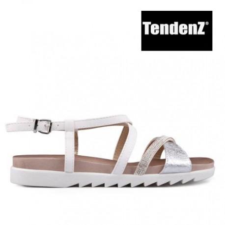 bílo stříbrné páskové sandálky se štrasovým zdobením TENDENZ CRS17-023