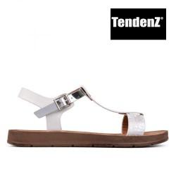 bílé + stříbrné páskové sandály TENDENZ CRS17-064