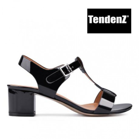 černé lakované elegantní sandály na podpatku TENDENZ CRS17-033