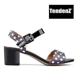 černo bílé puntíkované sandály na podpatku TENDENZ