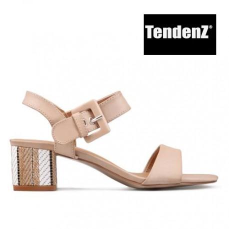 béžové páskové sandály na podpatku TENDENZ CRS17-050