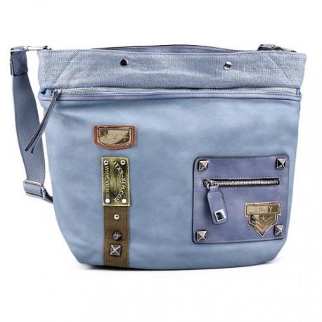 světle modrá crossbody kabelka s nášivkami TENDENZ FFS17-059