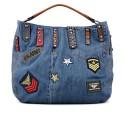 originální džínová kabelka s nášivkami FFS17-049